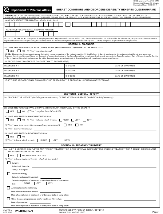 VA Form 21-0960K-1 Printable Pdf