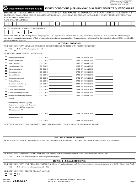 VA Form 21-0960J-1 Printable Pdf