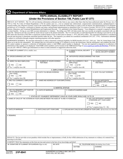 VA Form 21P-8941 Printable Pdf