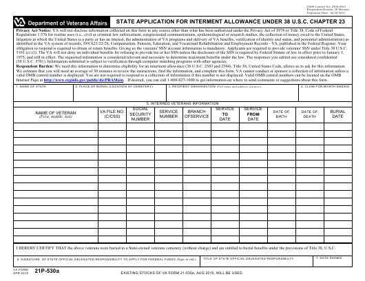 VA Form 21P-530A Fillable Pdf