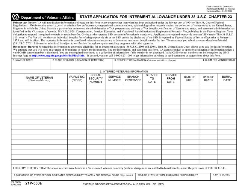 VA Form 21P-530A Fillable Pdf