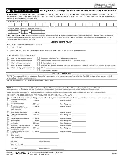 VA Form 21-0960M-13 Printable Pdf