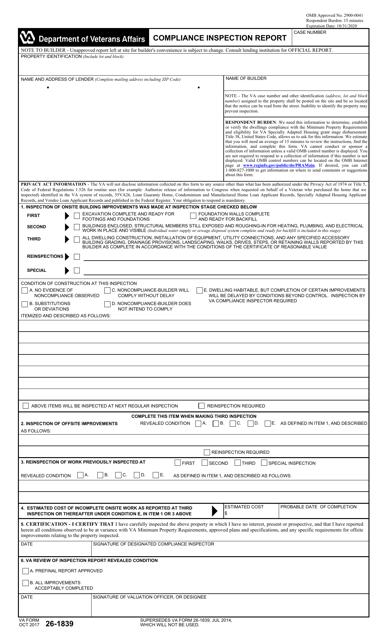 VA Form 26-1839 Printable Pdf