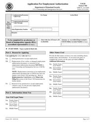 USCIS Form I-765 Application for Employment Authorization