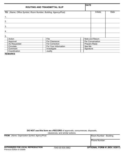 GSA OPTIONAL Form 41 Fillable Pdf