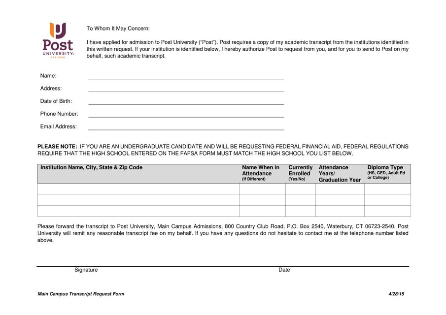 """Main Campus Transcript Request Form - Post University"" Download Pdf"
