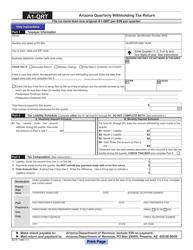 DOR Form A 1-QRT Arizona Quarterly Withholding Tax Return - Arizona