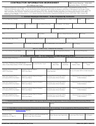 GSA Form 850 Contractor Information Worksheet
