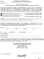 "Form DCC-157 ""Certified Family Child-Care Home Central Registry Check"" - Kentucky"