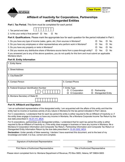 Form INA-CT  Printable Pdf