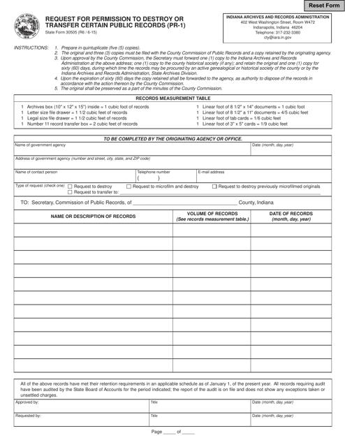 State Form 30505  Printable Pdf