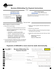 "Form MW-1 ""Montana Withholding Tax Payment Voucher"" - Montana"