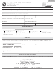 State Form 45388 Form Cg-9 - Single Event License Financial Report - Indiana