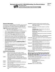"Form MW-3 ""Montana Annual W-2 1099 Withholding Tax Reconciliation"" - Montana"
