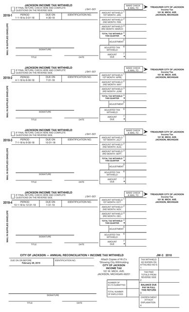 Form J 941-501 2018 Printable Pdf