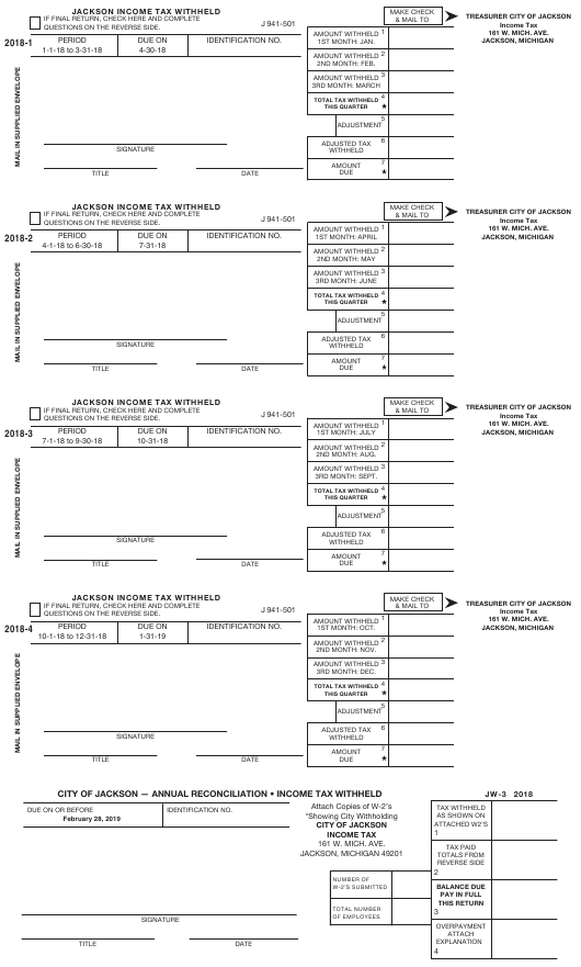 Form J 941-501 2018 Fillable Pdf