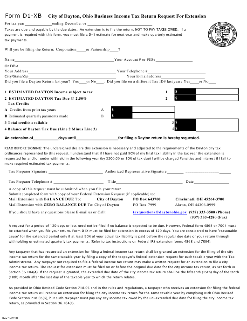 Form D 1-XB Printable Pdf