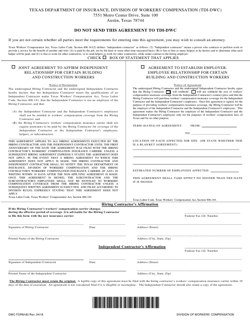 Form DWC83  Printable Pdf