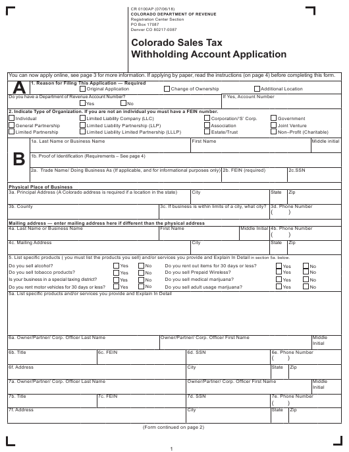 Form CR0100AP  Printable Pdf