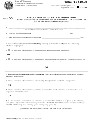 """Form 55 """"Revocation of Voluntary Dissolution - Stock or Nonstock Corporation or Limited Liability Company"""" - Wisconsin"""