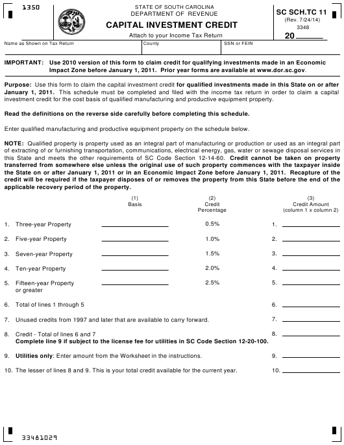 Form SC SCH.TC-11 Schedule TC 11  Printable Pdf