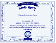 """""""Tooth Fairy Certificate Template"""""""