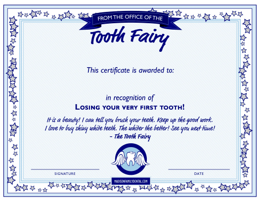 """Tooth Fairy Certificate Template"" Download Pdf"