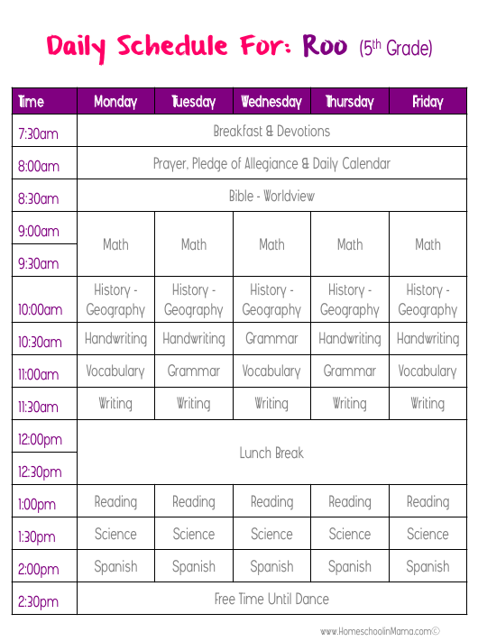 homeschooling daily schedule templates download printable