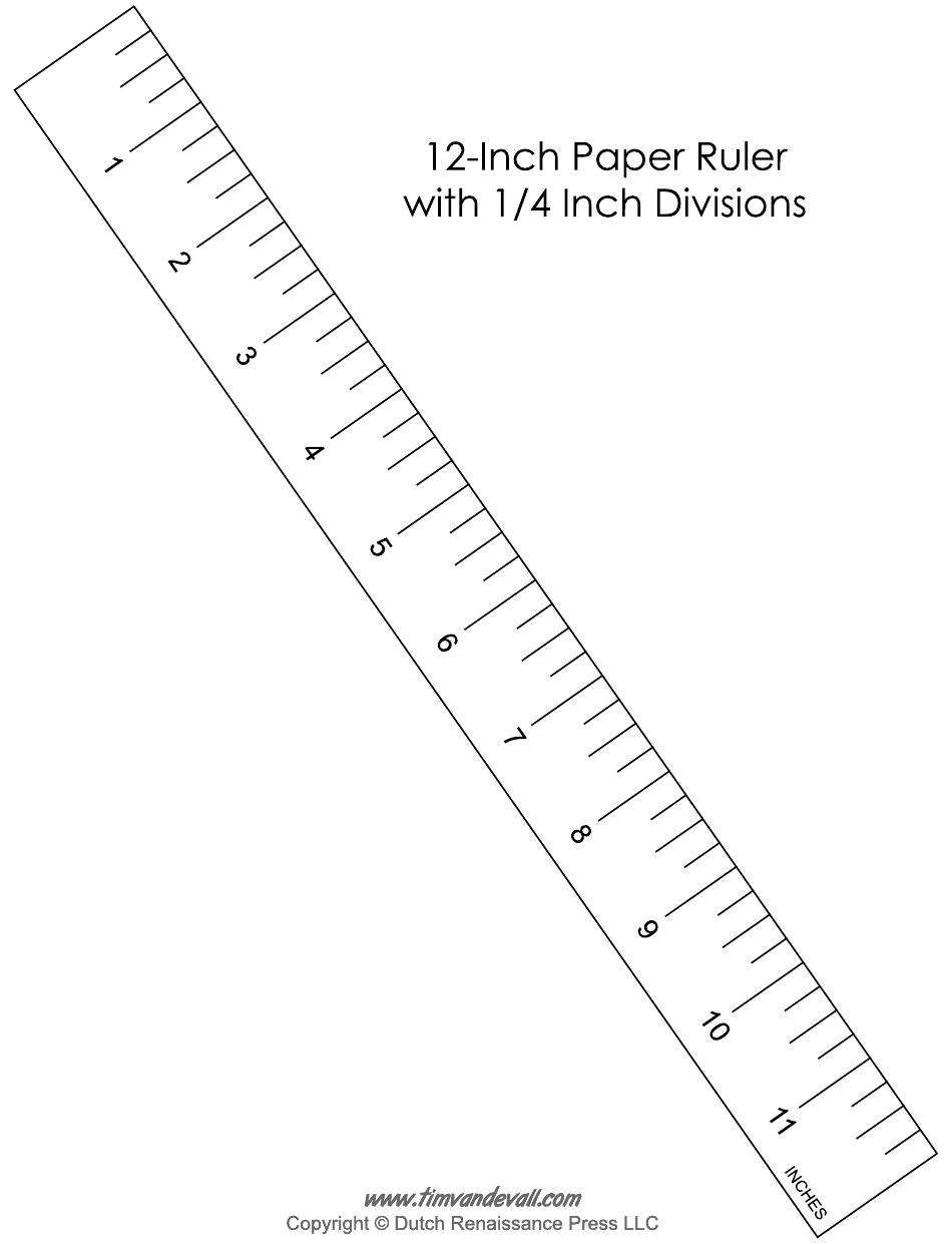 """""""12-inch Paper Ruler Template With 1/4 Inch Divisions"""" Download Pdf"""