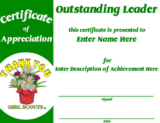 """Certificate of Appreciation Template - Girl Scouts"" Download Pdf"