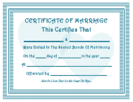 Blue Marriage Certificate Template
