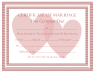 Pink Marriage Certificate Template With Two Hearts