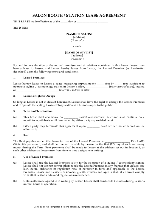 """Salon Booth/Station Lease Agreement Template - Speedy Template"" Download Pdf"