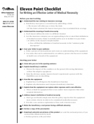 Letter of Medical Necessity Eleven-Point Checklist Template