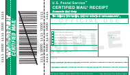 "PS Form 3800 ""Certified Mail Receipt"""