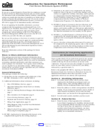 OPM Form SF-2801 Application for Immediate Retirement