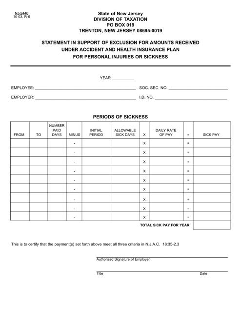 Form NJ-2440 Printable Pdf