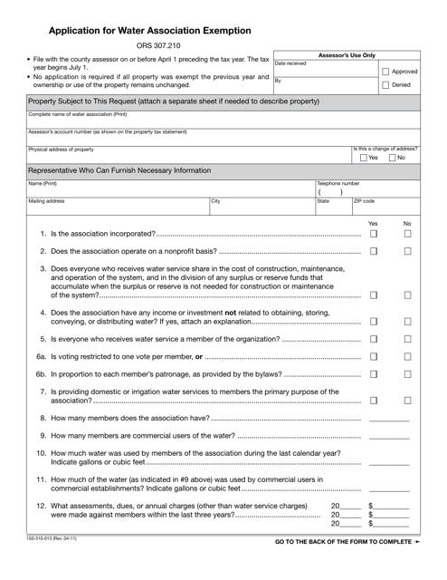 Form 150-310-013  Printable Pdf