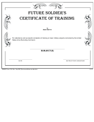 "USAREC Form 1136 ""Future Soldier's Certificate of Training"""