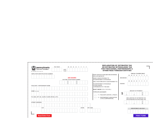 Form PA-40ESR (F/C)  Printable Pdf