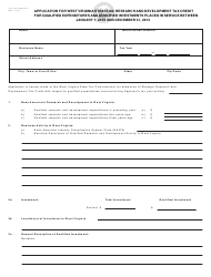 Form WV/SRDTC-A Application for West Virginia Strategic Research and Development Tax Credit for Qualified Expenditures and Qualified Investments Placed in Service on or After January 1, 2003 - West Virginia
