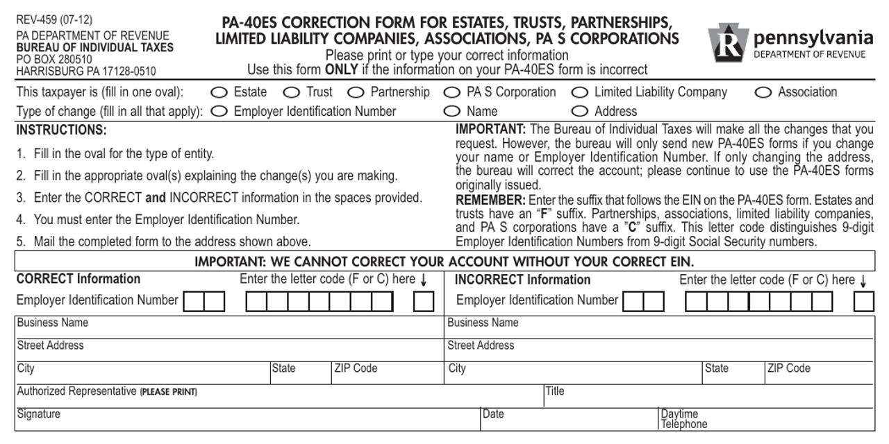 Form REV-459  Printable Pdf