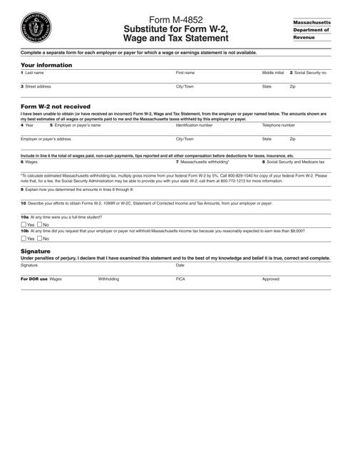 Form M-4852 Printable Pdf