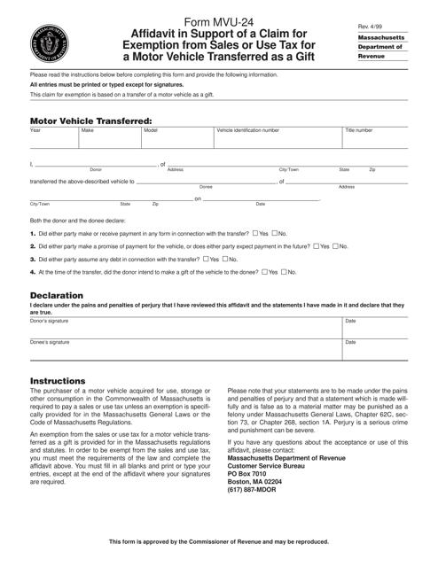 Form MVU-24 Printable Pdf