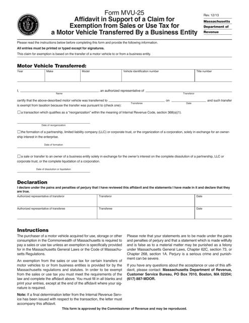 Form MVU-25 Printable Pdf