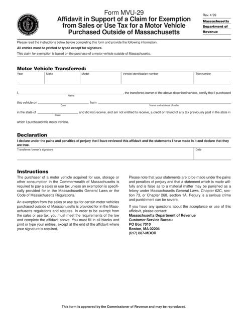 Form MVU-29 Printable Pdf