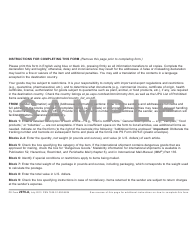 PS Form 2976-A Customs Declaration and Dispatch Note - Sample