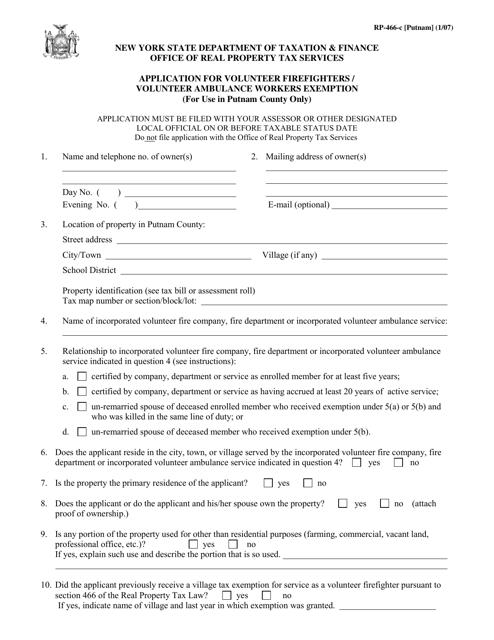 Form RP-466-C [PUTNAM] Printable Pdf