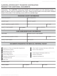 Form CW 215A Calworks Intercounty Transfer Continuation Request for Additional Documents - California