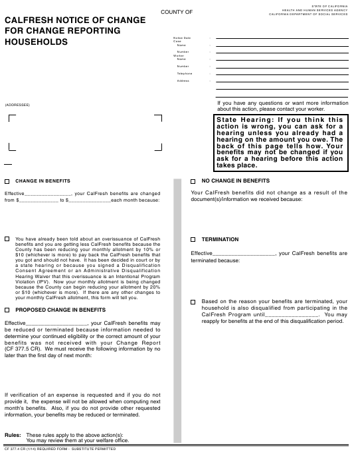 Form CF377.4 CR  Printable Pdf
